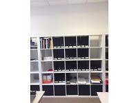 Ikea White shelving unit with 5 storage boxes