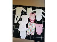 Baby Girl Bundle Of babygroes/ vests.