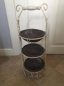 Small wicker basket stand