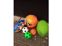 Footballs,rugby balls, cricket stumps