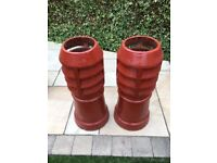 2 Victorian Louvred Chimney Pots