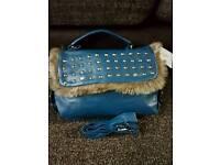 NEW Handbag blue fur
