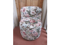 LOW CHAIR RECENTLY UPHOLSTERED IN SANDERSON FABRIC 'CHELSEA' WITH PIPING