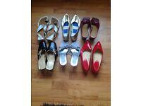 Six pairs of ladies size 4 footware