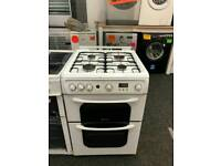 HOTPOINT 55CM GAS DOUBLE OVEN COOKER IN WHITE