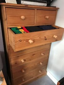 Tall chest of Drawers: solid pine.
