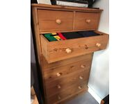 Tall chest of Drawers: solid pine. 2 available