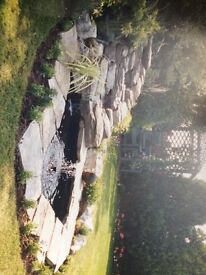 Three tier stone effect precast garden pond waterfall stream set incl filter and pump