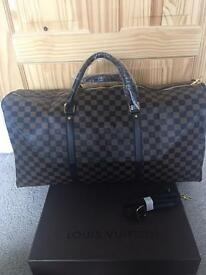 Louis Vuitton Brown Chequered Travel Duffel Large bag with a strap for sale