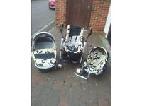 4 in 1 Travel System - Chicco. Car seat, carrycot/pram, pushchair. Black, grey, yellow and white