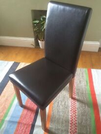 4 x dining room chairs in black faux leather