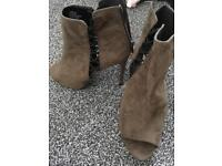 Olive heel boot size 6