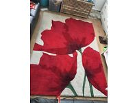 Large red poppy rug 5x7ft