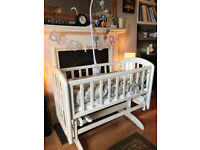John Lewis Anna Glider Crib Cot and mattress suitable from birth
