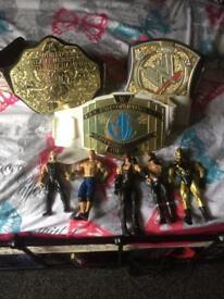 Wrestling belt And figures