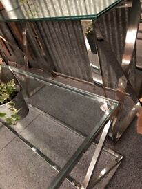 Chrome and glass drinks / coffee table / console hall sofa - Carlisle Centre - can deliver