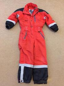 Red, grey and black snowsuit