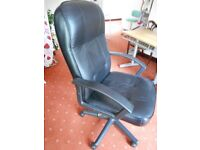 Leather rotating and reclining office chair in black