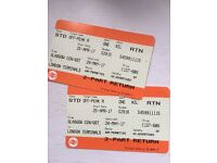 *FOR SALE* TWO OPEN RETURNS TO FROM GLASGOW TO LONDON EUSTON