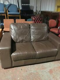 Brown 2 Seater Leather