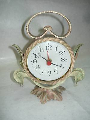 Tabletop Clock Wrought Iron Decoration Leaves Leaf Tabletop Clock