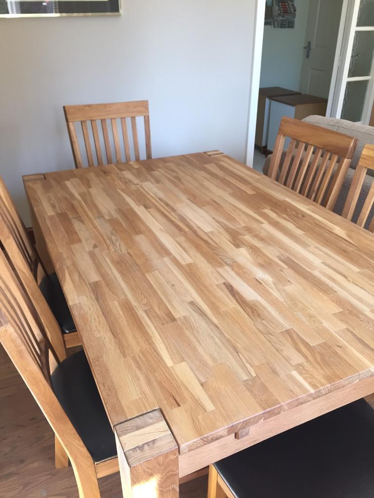 Oiled Oak Dining Table With 6 x Dark Brown Bycast Chairs | in ...
