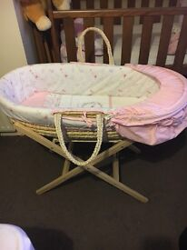 Mothercare my little garden moses basket, stand and 3x sheets