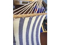 Blue and white striped hammock- wood and fabric
