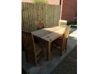 Pine kitchen + dining table and chairs