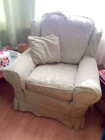 Large armchair. Sage green with Plumbs removable covers. Separate seat and back cushions. Very clean
