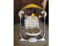 Chicco baby swing with 4 settings, insert and music.