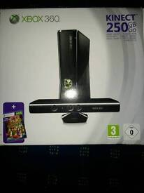 Xbox 360 with kinect and headphones