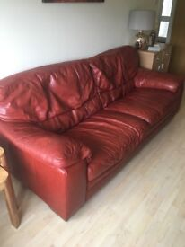 Red leather 3&2 seater sofa