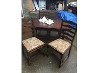 STUNNING PRIORY STYLE TABLE AND FOUR HIGH BACKED CHAIRS