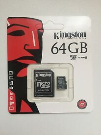 Kingston 64GB Micro Sd SDHC SDXC Class 10 with SD Adapter