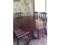 G plan extending dining table & 6 chairs