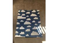 Blue and white cloud Roman blind