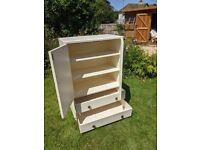 Tallboy/Cupboard with shelves and 2 large drawers 86 x 46 x124cm