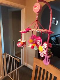Pink cot mobile for baby girl