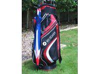 Motocaddy golf bag and brolly plus golf clubs