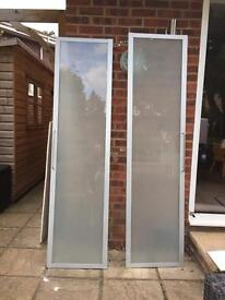 Pair of Ikea PAX aluminium and frosted glass doors and pax cupboards