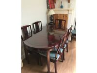 Elegant Chinese Rosewood Dining Table & 6 chairs plus cushions