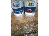 Two 5lt tins of white outdoor paint