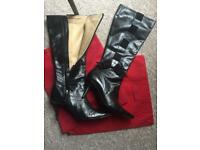 Valentino black leather boots size 53.5 eu