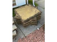 2' x 2' yellow stone slabs