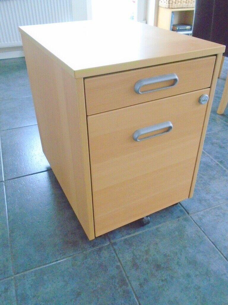 Ikea Beech Effect Wooden Filing Cabinet