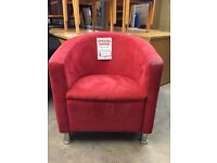 Tub Chair, In Red Fabric. Good Condition!