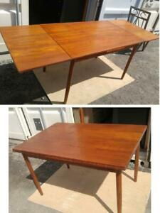 DANISH TEAK DINING TABLE DRAW LEAF 1950s-60s Made in Denmark Mid-Century Modern Oakville MCM Scandinavian Furniture