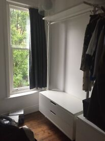 Ikea Stolmen white modular wardrobe system clothes rail, shelf and drawers
