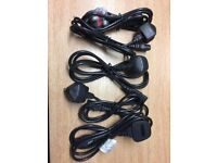Job Lot 5 x UK Mains Power Cable 1.5m Kettle Lead 3-Pin
